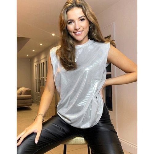 T-shirt effet métallisé à épaulettes - ASOS DESIGN - Modalova