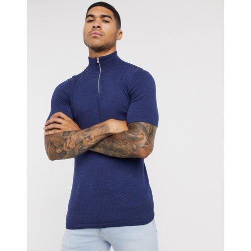 T-shirt en maille à fermeture éclair - Bleu marine - ASOS DESIGN - Modalova