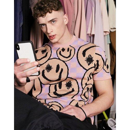 T-shirt en maille à motif damier et smiley - ASOS DESIGN - Modalova