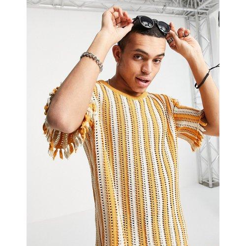 T-shirt en maille à rayures texturées - pastel - ASOS DESIGN - Modalova