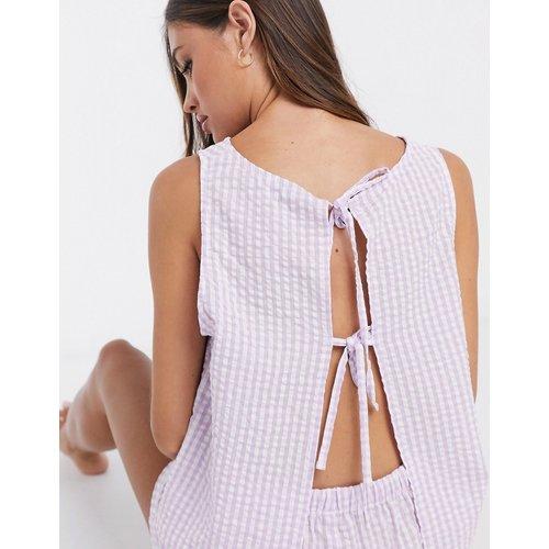 T-shirt et short à carreaux vichy - Lilas - ASOS DESIGN - Modalova