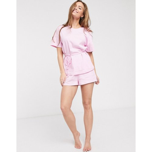 T-shirt et short de pyjama avec liens sur les côtés - ASOS DESIGN - Modalova