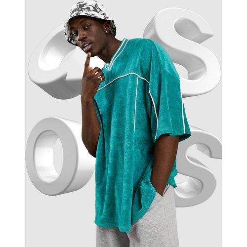 T-shirt long à col V en tissu éponge - ASOS DESIGN - Modalova