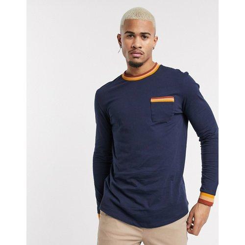 T-shirt long ajusté à manches longues avec ourlet arrondi et liserés contrastants - Bleu marine - ASOS DESIGN - Modalova