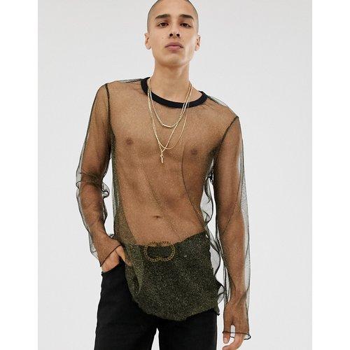 T-shirt long manches longues en tulle - Métallisé - ASOS DESIGN - Modalova