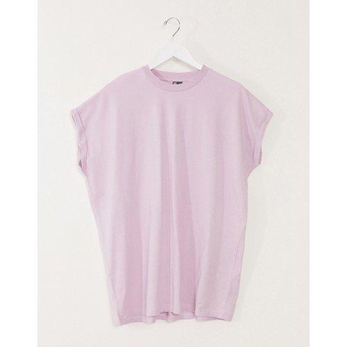 T-shirt long oversize à manches retroussées - Lilas - ASOS DESIGN - Modalova