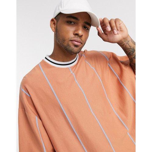 T-shirt long oversize à rayures avec liseré contrastant à l'encolure - ASOS DESIGN - Modalova