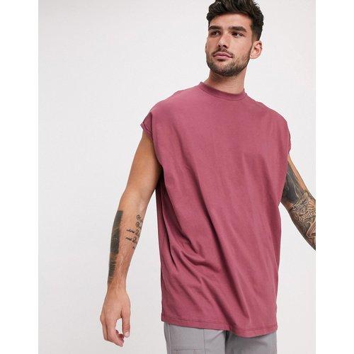 T-shirt long oversize avec manches retroussées - Bordeaux - ASOS DESIGN - Modalova