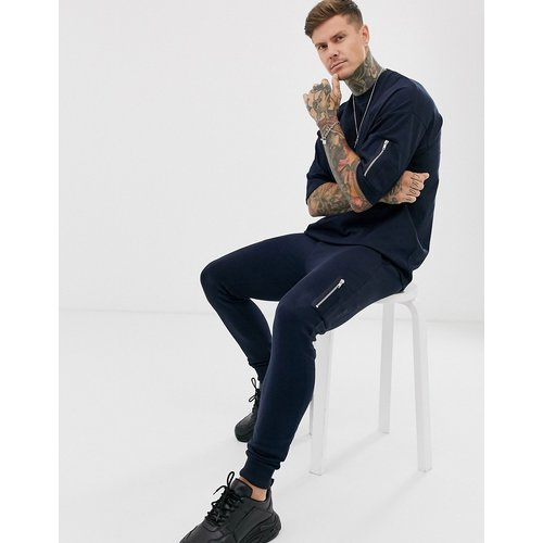 T-shirt long oversize avec poche MA1 - Bleu marine - ASOS DESIGN - Modalova