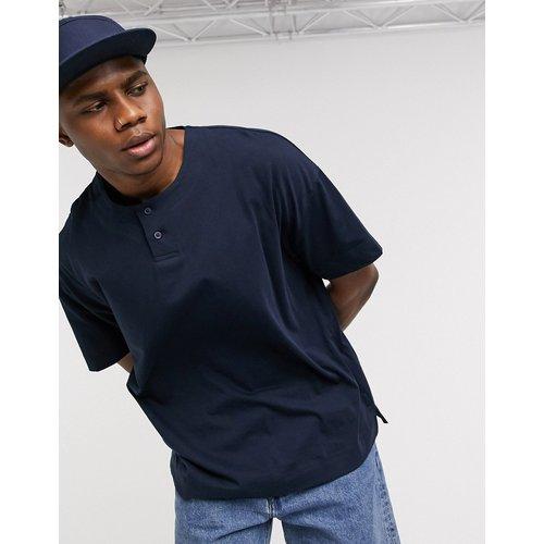 T-shirt long oversize de baseball avec col à bouton - Bleu marine - ASOS DESIGN - Modalova