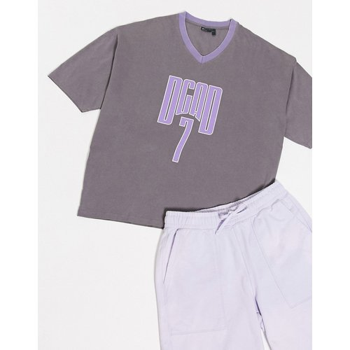 T-shirt long oversize délavé avec grand imprimé et col V sport - ASOS DESIGN - Modalova