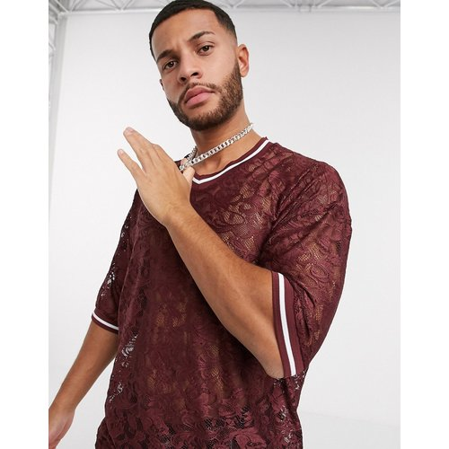 T-shirt long oversize en dentelle à manches mi-longues avec col V et liserés - Bordeaux - ASOS DESIGN - Modalova
