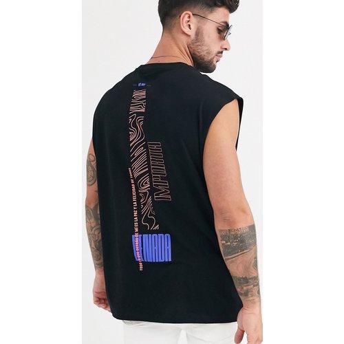 T-shirt long oversize sans manches à imprimé colonne vertébrale - ASOS DESIGN - Modalova