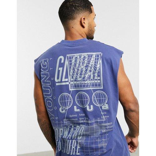T-shirt long oversizesans manches avec grand imprimé au dos et fini délavé - ASOS DESIGN - Modalova