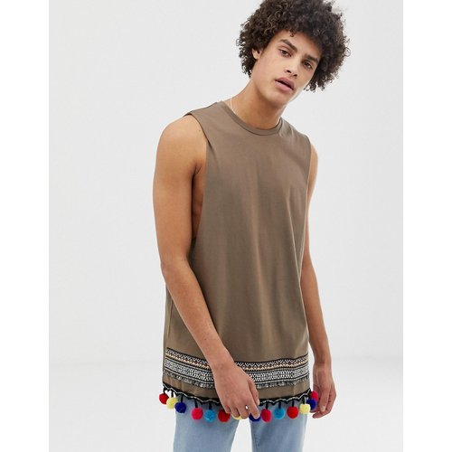 T-shirt long sans manches avec bande à motif aztèque et pompons - ASOS DESIGN - Modalova