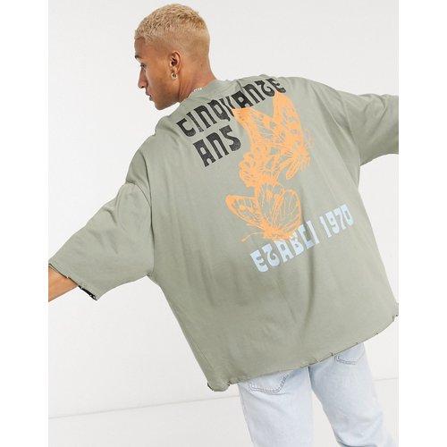 T-shirt long ultra oversize avec grand imprimé au dos et bords bruts - ASOS DESIGN - Modalova