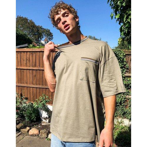 T-shirt long ultra oversize avec liserés - ASOS DESIGN - Modalova
