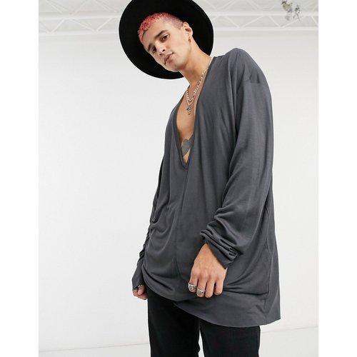 T-shirt manches longues col V oversize ultra long - Noir délavé - ASOS DESIGN - Modalova