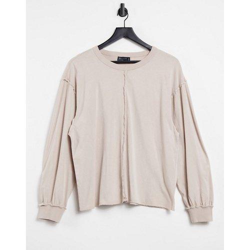 T-shirt manches longues oversize avec coutures apparentes - Taupe délavé - ASOS DESIGN - Modalova