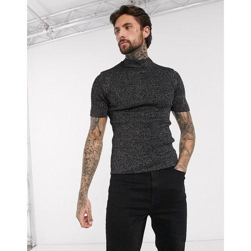 T-shirt moulant en maille côtelée avec col montant - Argent et noir - ASOS DESIGN - Modalova