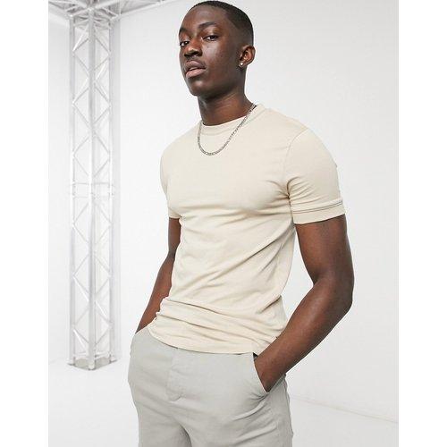T-shirt moulant habillé à détails passepoilés - Beige - ASOS DESIGN - Modalova