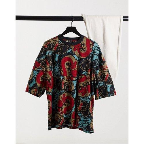T-shirt oversize à imprimé dragon sur l'ensemble - Noir - ASOS DESIGN - Modalova