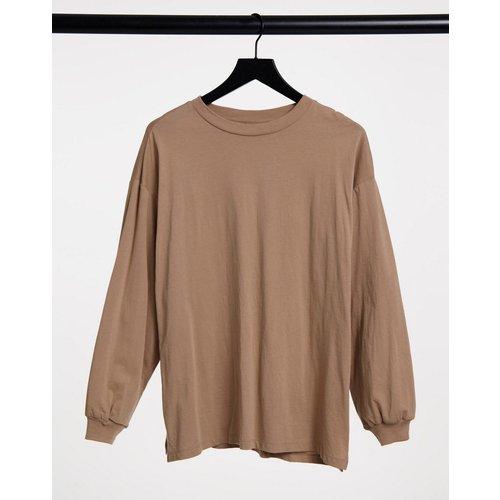 T-shirt oversize à manches longues avec détail aux poignets - Sable - ASOS DESIGN - Modalova