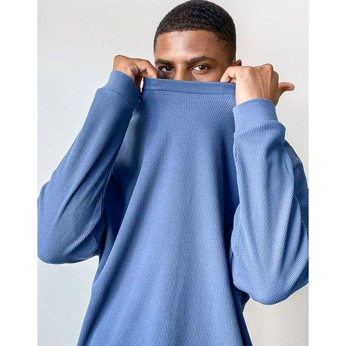 T-shirt oversize à manches longues en tissu épais gaufré - Bleu - ASOS DESIGN - Modalova