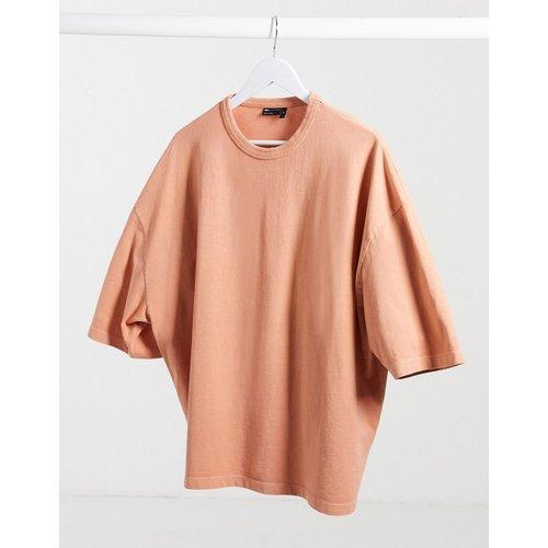 T-shirt oversize à manches mi-longues en tissu épais - délavé à l'acide - ASOS DESIGN - Modalova