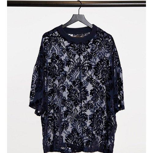 T-shirt oversize à motif dévoré transparent - Bleu - ASOS DESIGN - Modalova