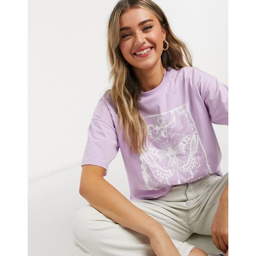 T-shirt oversize avec imprimé en relief motif papillon mystique - Lilas - ASOS DESIGN - Modalova