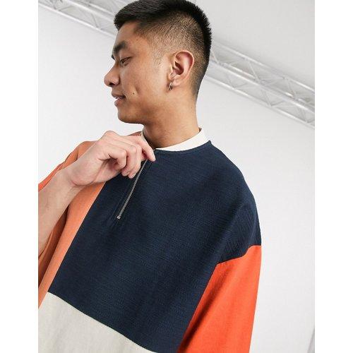 T-shirt oversize color block à encolure zippée style baseball - ASOS DESIGN - Modalova