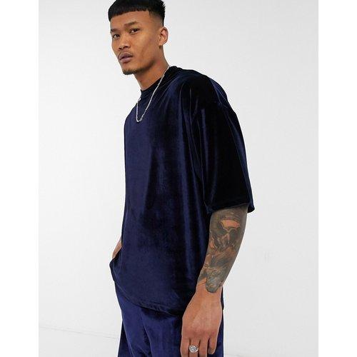 T-shirt oversize en velours à manches mi-longues (ensemble) - Bleu - ASOS DESIGN - Modalova