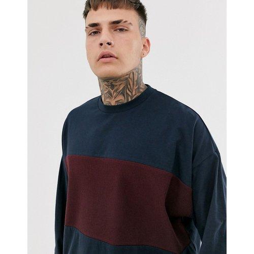 T-shirt oversize long avec manches longues et empiècement gaufré - Bleu marine - ASOS DESIGN - Modalova