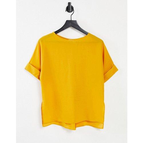 T-shirt oversize tissé avec manches à revers - Ambre - ASOS DESIGN - Modalova