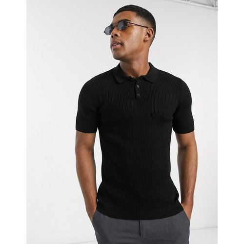 T-shirt polo moulant en maille côtelée - ASOS DESIGN - Modalova