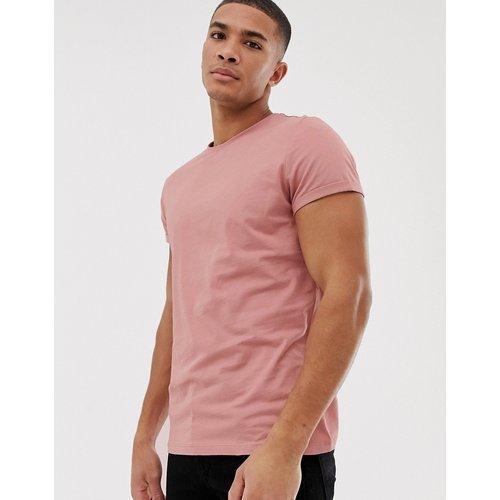 T-shirt ras de cou à manches retroussées - ASOS DESIGN - Modalova