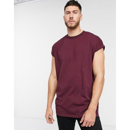 T-shirt ras de cou long oversize à manches retroussées - Bordeaux - ASOS DESIGN - Modalova