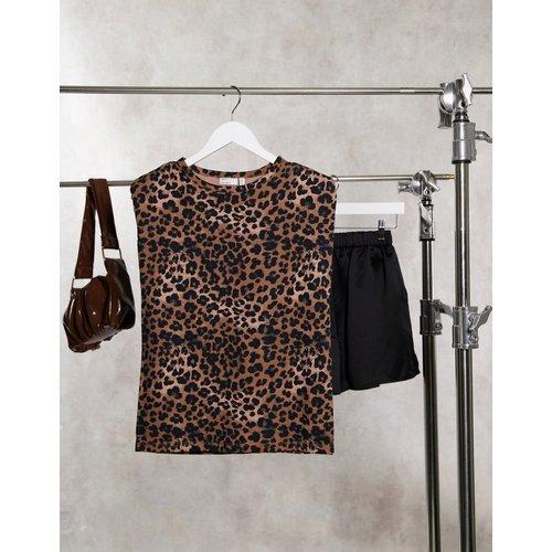 T-shirt sans manche avec épaulettes à imprimé animal monochrome - ASOS DESIGN - Modalova