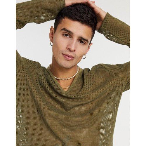T-shirt ultra long en tulle à manches longues avec large col en V - ASOS DESIGN - Modalova