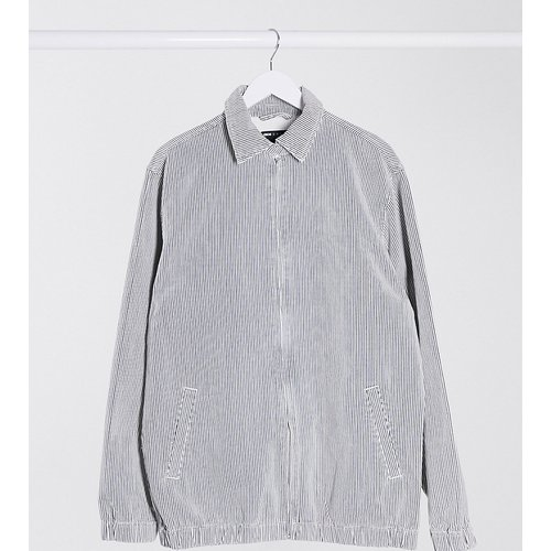 Tall - Blouson Harrington en jean - Rayures très fines blanches - ASOS DESIGN - Modalova