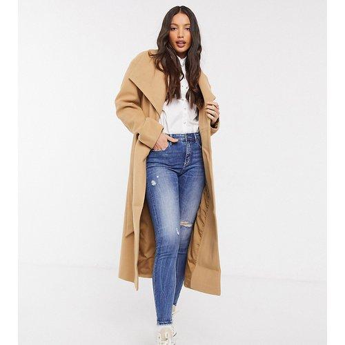 ASOS DESIGN Tall - Manteau long coupe patineuse avec ceinture - Fauve - ASOS Tall - Modalova