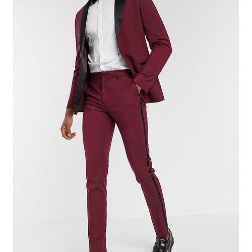 Tall - Pantalon de smoking slim - Bordeaux - ASOS DESIGN - Modalova
