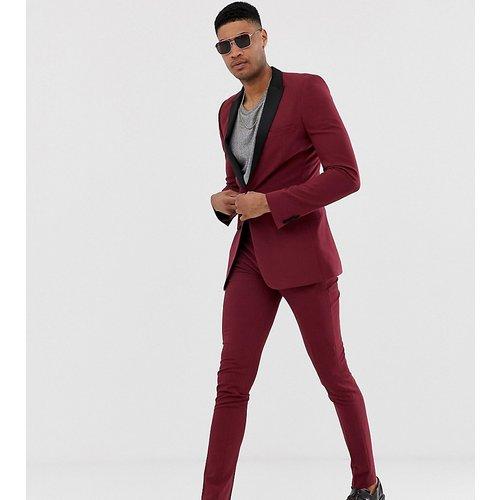 Tall - Pantalon de smoking ultra slim - Bordeaux - ASOS DESIGN - Modalova