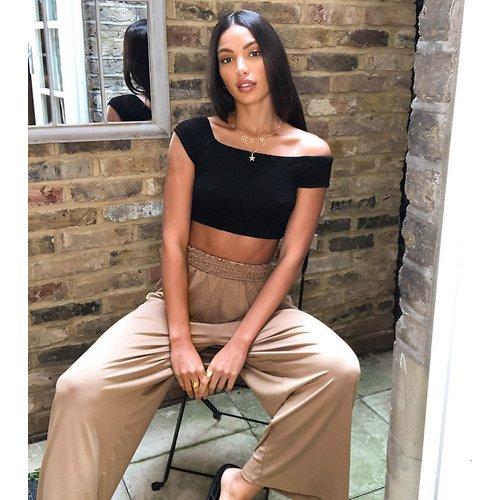 ASOS DESIGN Tall - Pantalon style jupe-culotte froncé à la taille - Sable - ASOS Tall - Modalova