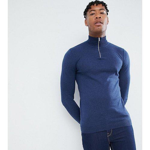 Tall - Pull en maille avec col zippé - Bleu marine - ASOS DESIGN - Modalova