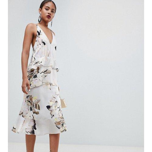 ASOS DESIGN Tall - Robe caraco mi-longue vaporeuse à imprimé floral effet flou - ASOS Tall - Modalova