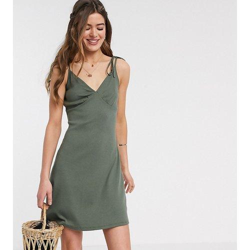 ASOS DESIGN Tall - Robe d'été côtelée coupe caraco courte - Kaki - ASOS Tall - Modalova