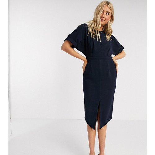 Tall - Robe fourreau mi-longue - Bleu marine - ASOS DESIGN - Modalova