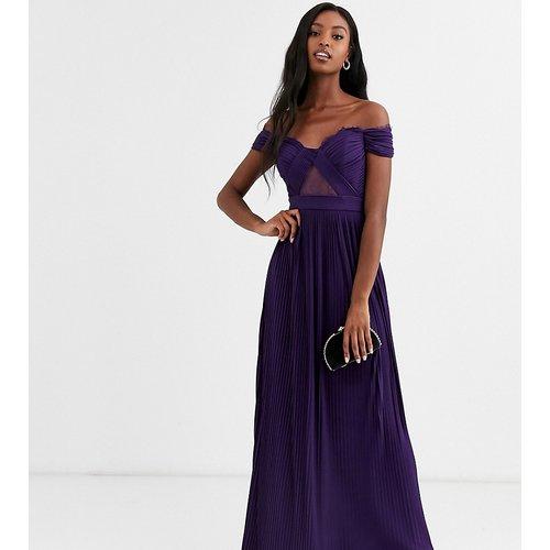 ASOS DESIGN Tall - Robe longue style Bardot plissée et en dentelle - ASOS Tall - Modalova